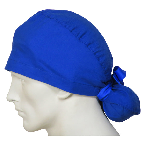 Ponytail Surgical Caps Ocean Blue
