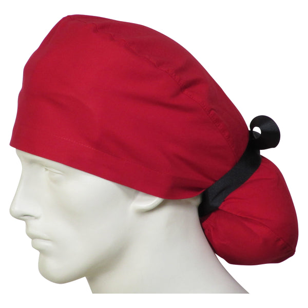 Ponytail Surgical Caps Cherry Red