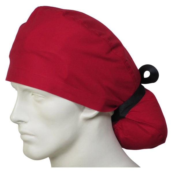 Ponytail Scrub Cap Cherry Red