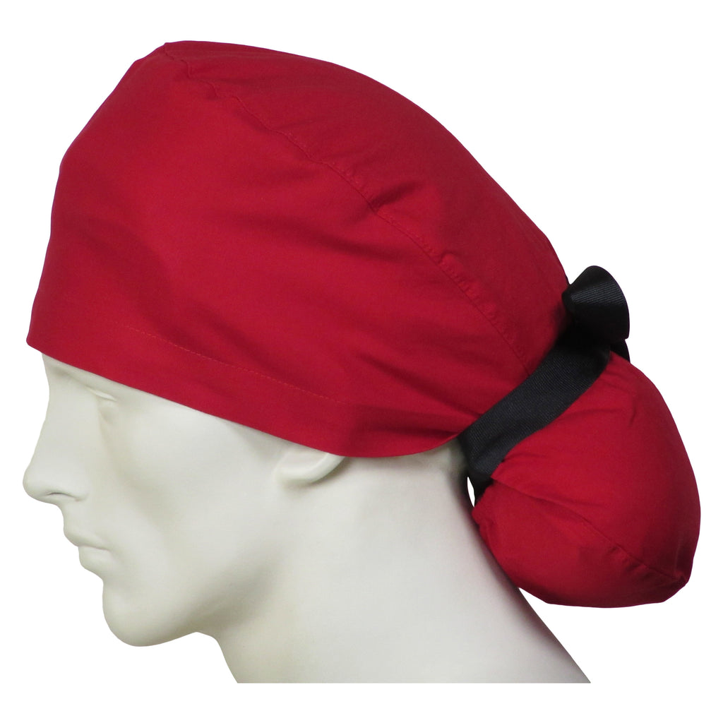 Ponytail Scrub Caps Cherry Red