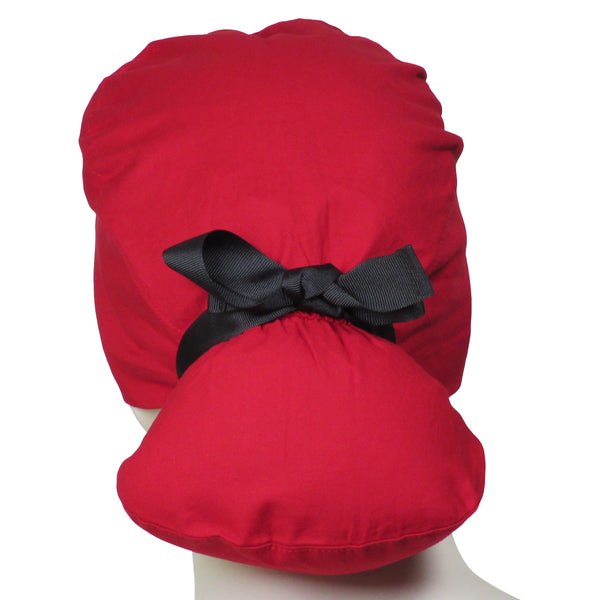 Ponytail Scrub Hats Cherry Red