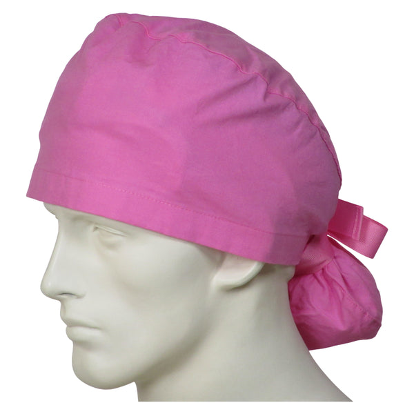 Ponytail Surgical Caps Sweet Pink