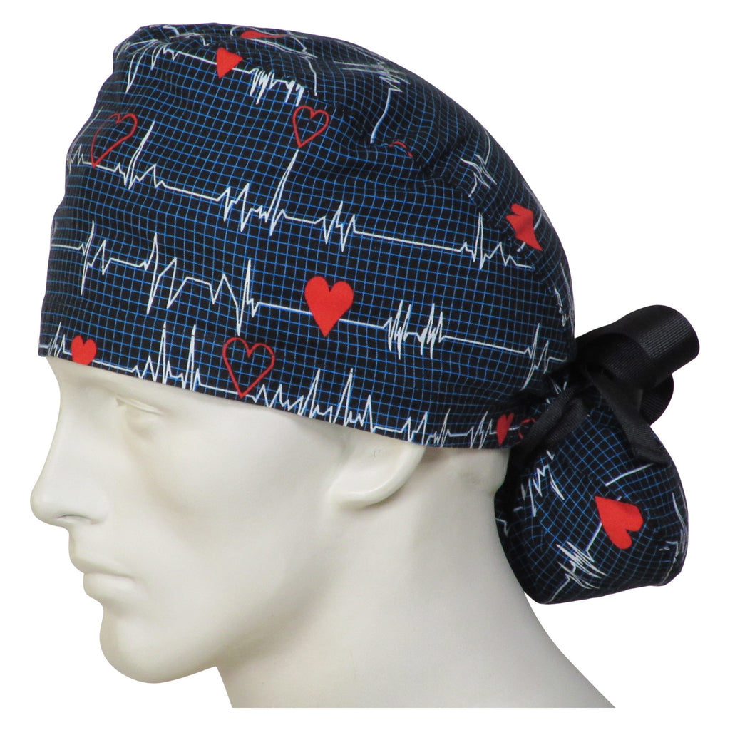 Ponytail Surgical Caps EKG Black