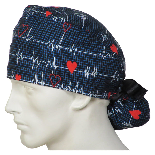 Ponytail Scrub Caps EKG Black