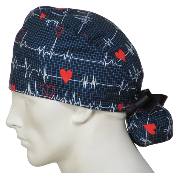 Ponytail Surgeons Caps EKG Black