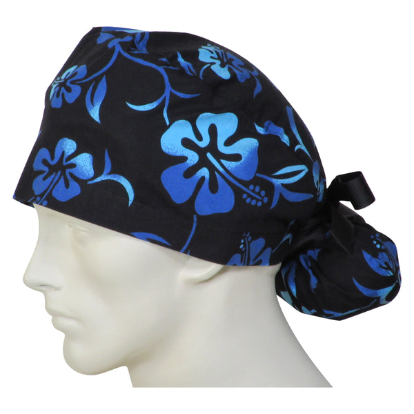 Ponytail Scrub Cap Black Lava Flowers