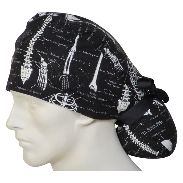 Ponytail Scrub Caps Skeletons