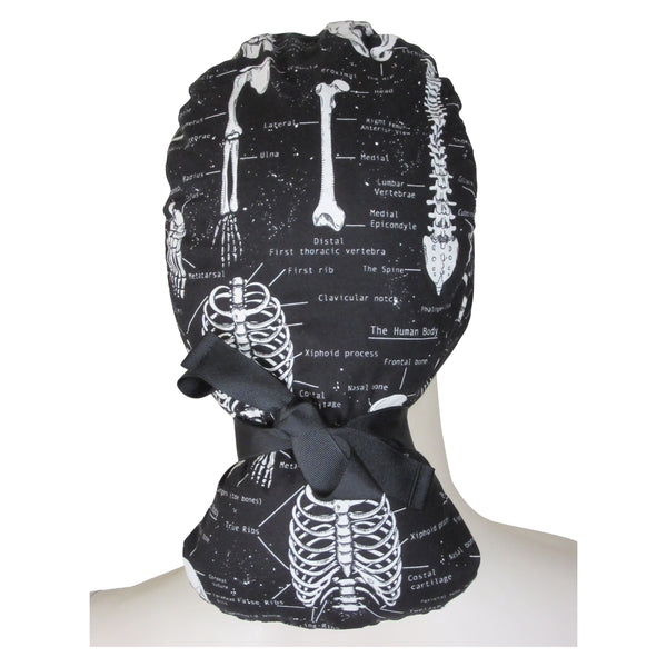 Ponytail Surgical Caps Skeletons
