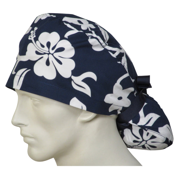 Ponytail Scrub Caps Navy Lava Flowers