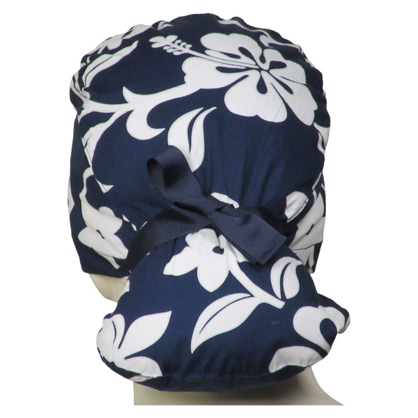 Ponytail Surgical Caps Navy Lava Flowers