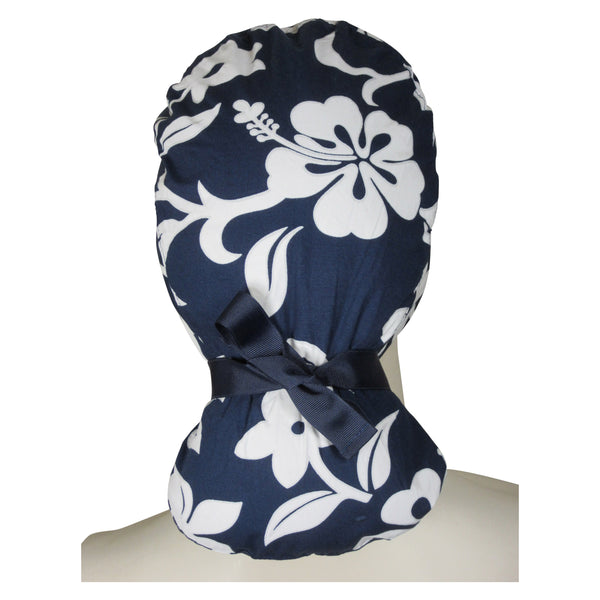 Ponytail Theatre Caps Navy Lava Flowers