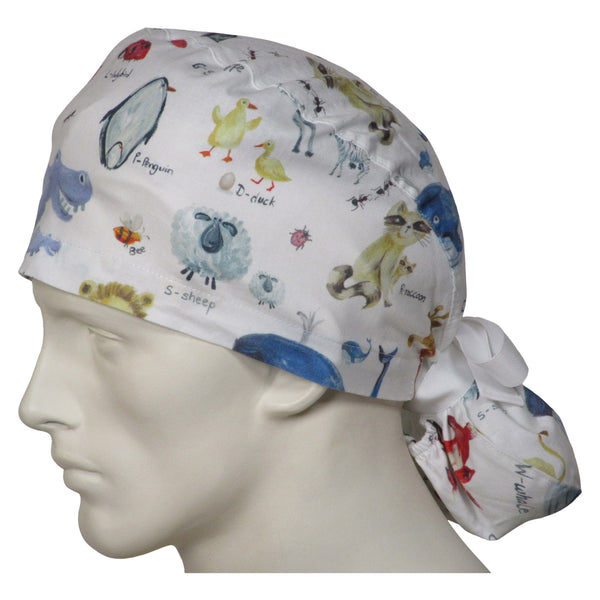 Ponytail Scrub Caps Animal World