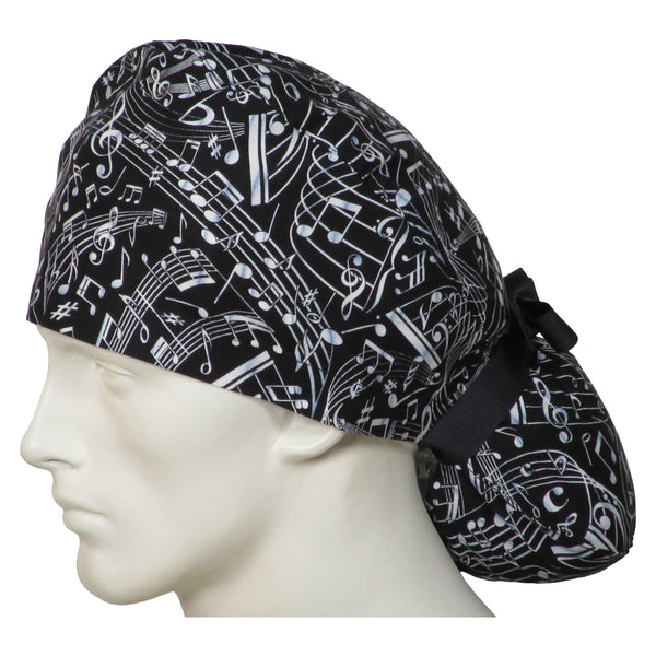 Ponytail Surgical Caps Musical Notes