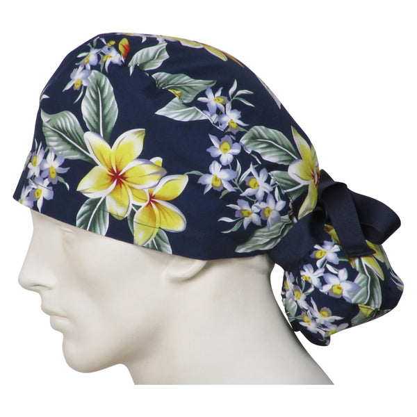 Ponytail Surgical Caps Island Flowers