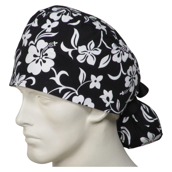 Ponytail Surgical Cap Black Flowers