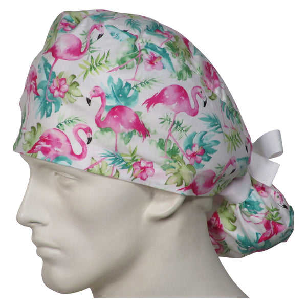 Ponytail Scrub Caps Pink Flamingos