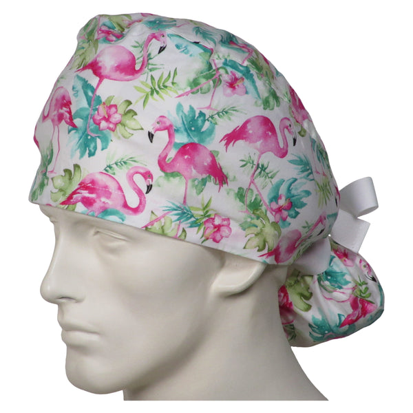 Ponytail Surgeon Caps Pink Flamingos
