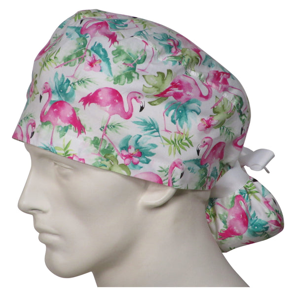 Ponytail Scrubs Caps Pink Flamingos