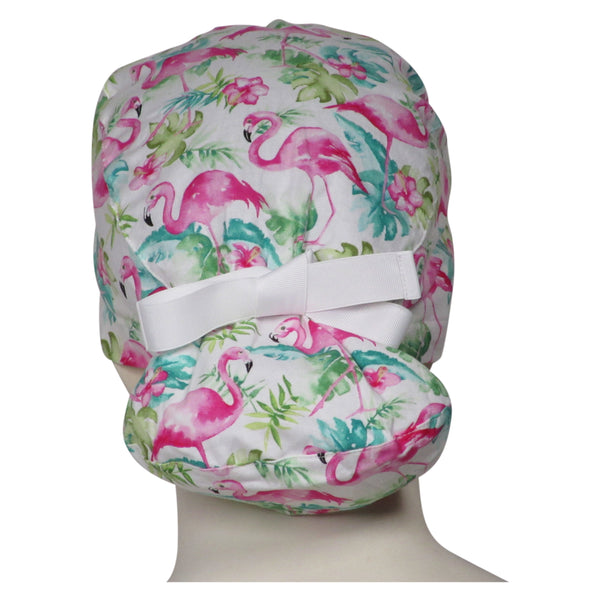 Ponytail Surgical Caps Pink Flamingos