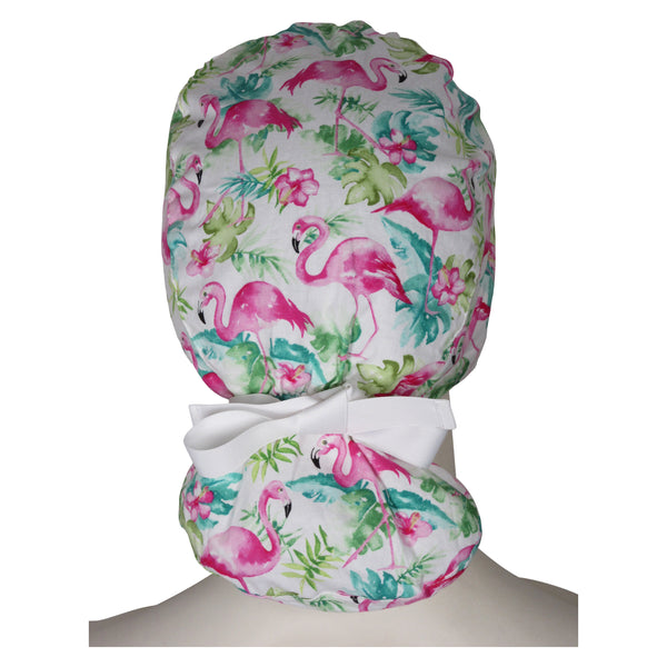 Ponytail Surgical Cap Pink Flamingos