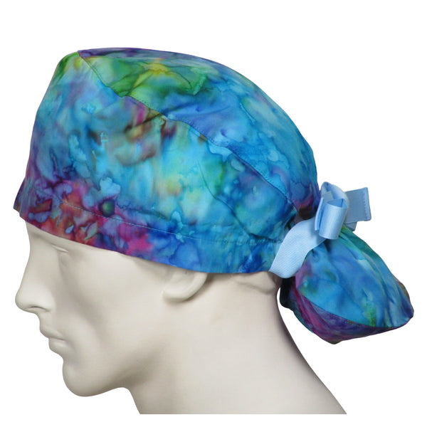 Ponytail Surgical Caps Tie Dye