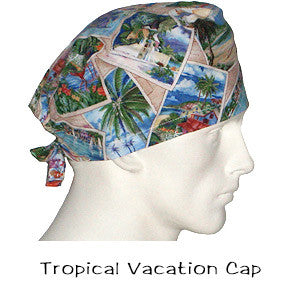 Scrub Hats Tropical Vacation