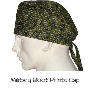 Surgical Caps Military Boot Prints