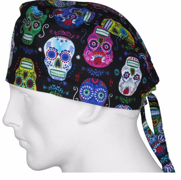 Surgical Cap Folklore Skulls Black