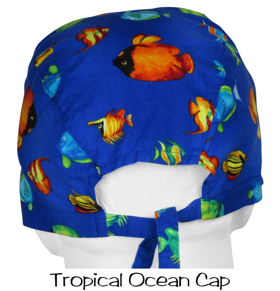 Surgical Caps Tropical Ocean (back view) two long ties