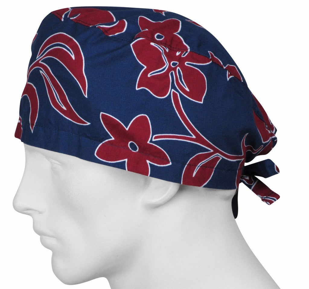 Scrubs Hat Crimson Lava Flowers