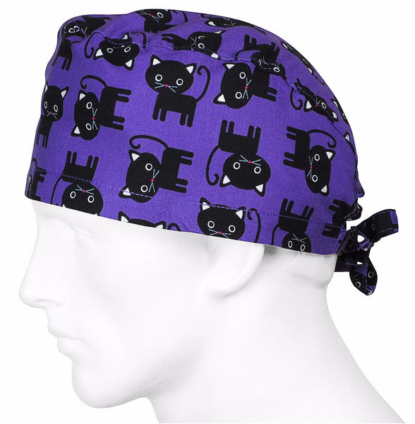 Scrub Hat Black Cats