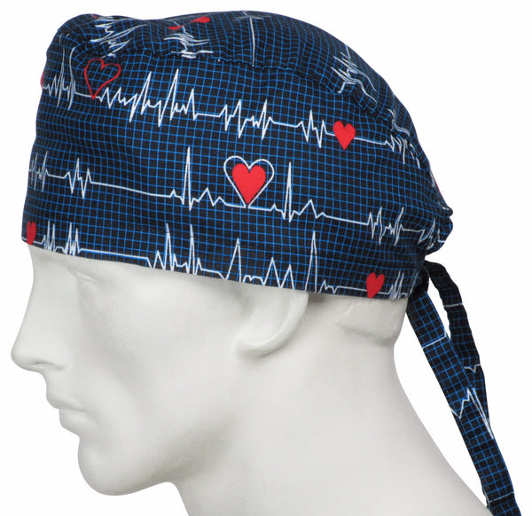 Surgical Cap EKG black