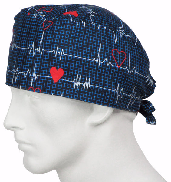 Scrub Caps EKG black