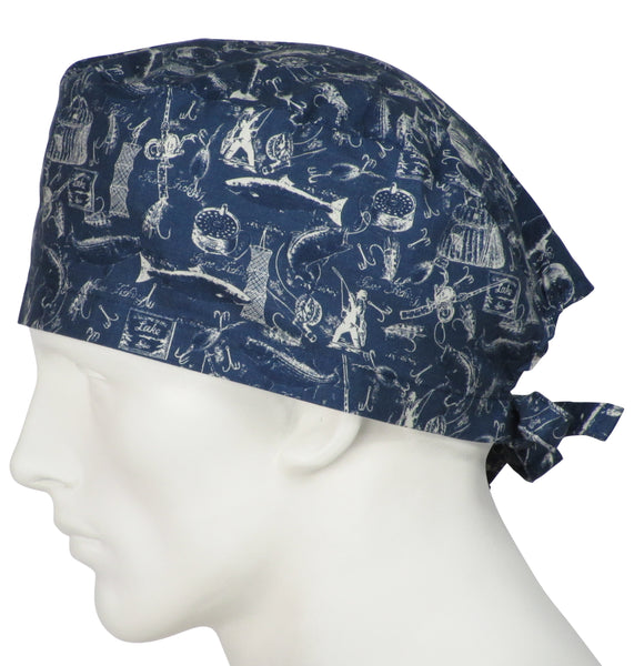 designer scrub caps Gone Fishing