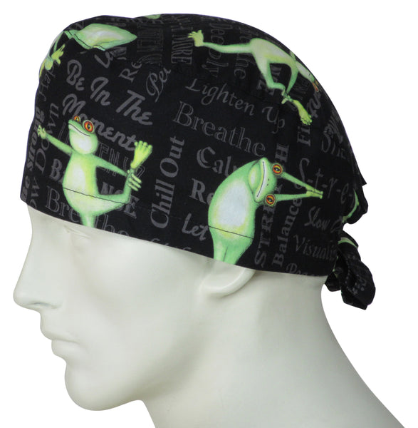 Scrub Surgical Cap Yoga Frogs