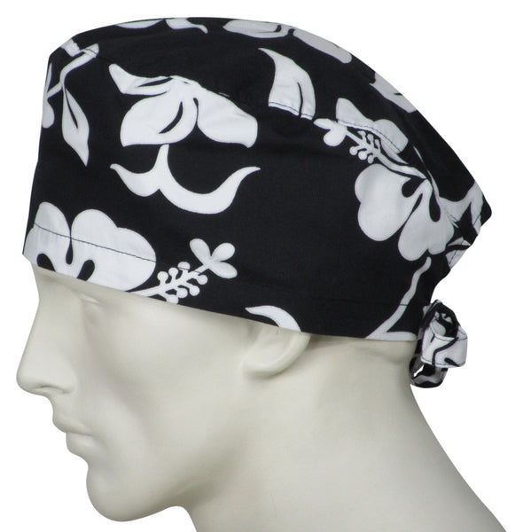 Surgical Scrub Caps Black Flowers