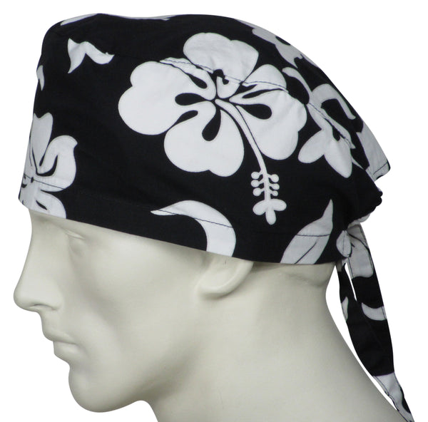 Surgical Hats Black Flowers