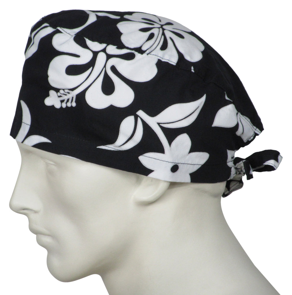 Surgical Caps Black Flowers