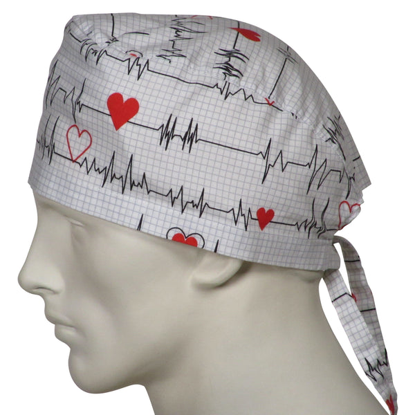 Scrub Hats EKG white