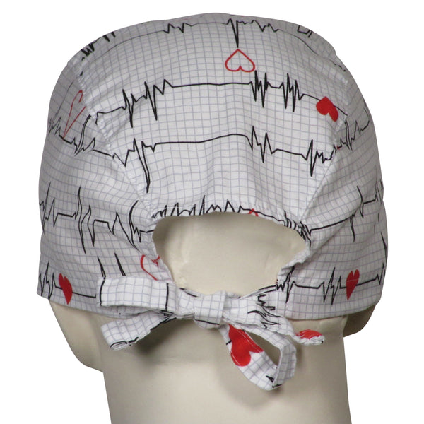 Scrub Surgery Caps EKG white