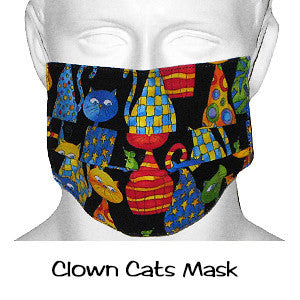 Designer Scrub Masks Clown Cats