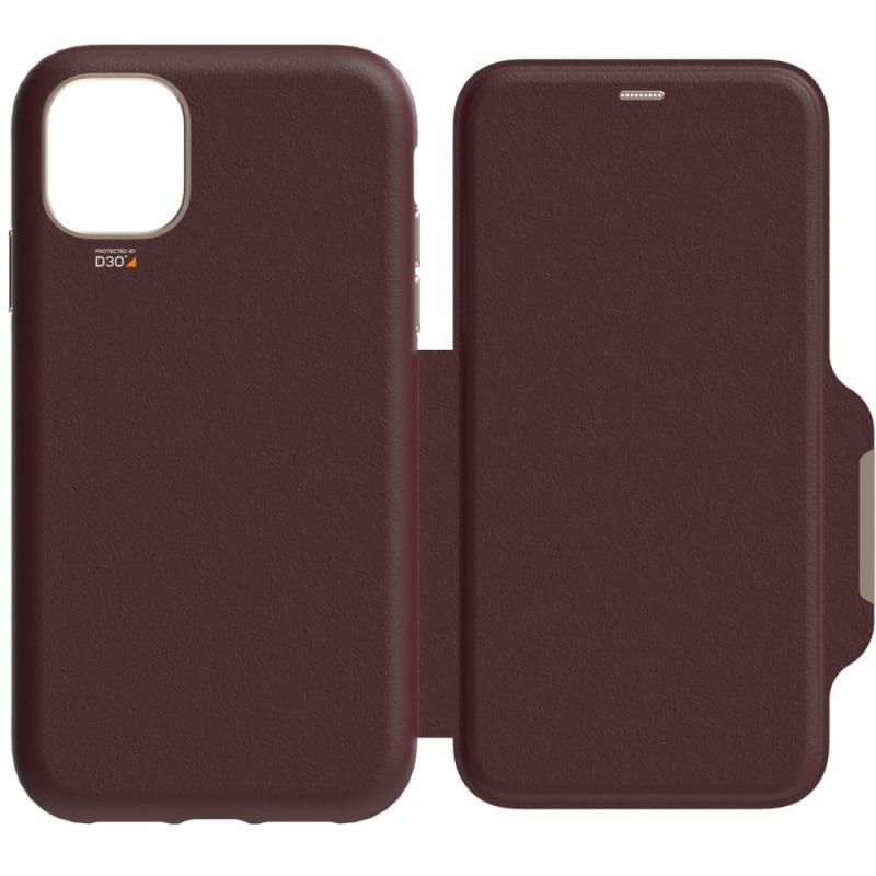 EFM Monaco D3O Leather Wallet Case Armour For iPhone XR - Mulberry
