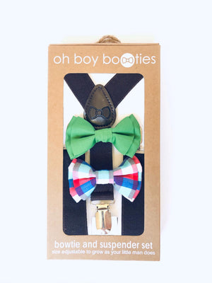 Dapper Boys Bow Tie & Adjustable Suspender Sets