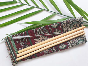 Bamboo Straws x 3 with Cleaning Tool Re-usable Biodegradable Eco + Carry Case