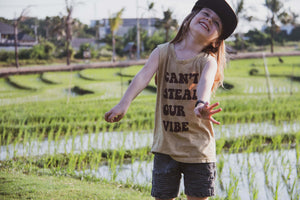 Can't Steal Our Vibe Yellow Sand Wash Kids & Baby Muscle tee