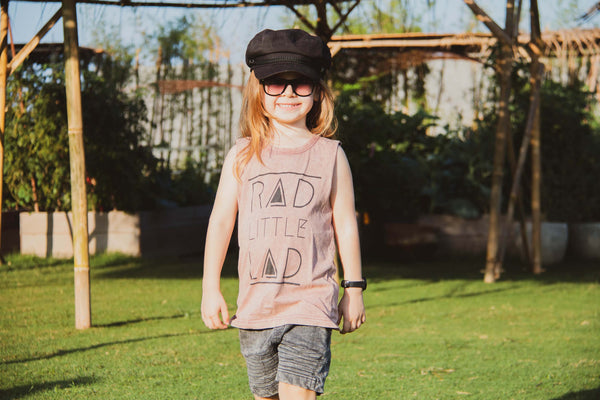 Rad Little Lad-NEW COLOUR RELEASED- Acid Wash Terracotta Kid & Baby Muscle Tee