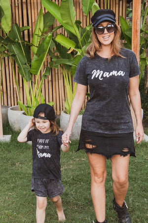 MAMA Grey Acid Wash T-Shirt