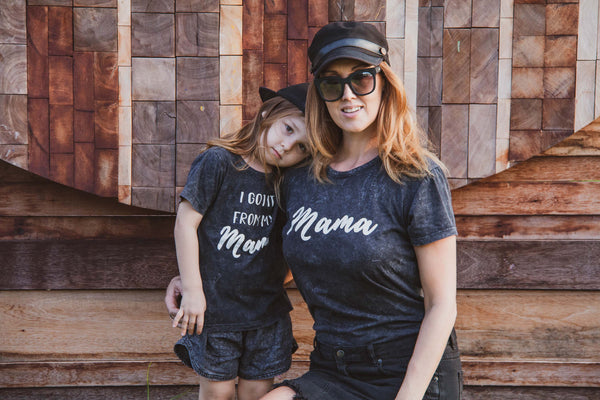 MAMA & 'I Got It From My Mama' Grey Acid Wash Matching T-Shirt Sets