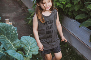 Peace Love Rock N Roll-NEW COLOUR RELEASED-Adult & Kids Unisex Matching Khaki Muscle Tee Set