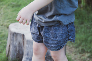 Linen Grey Acid Wash Elastic Waist Baby & Kids Shorts